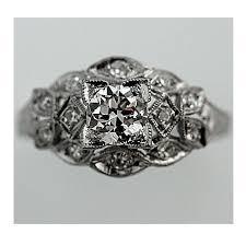 art deco platinum old european cut diamond engagement ring circa