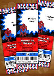 spiderman ticket invitation birthday party personalized digital