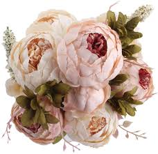 amazon com duovlo fake flowers vintage artificial peony silk
