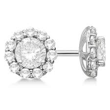 gold diamond stud earrings diamond stud earrings halo setting in 14k white gold allurez