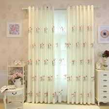 Grommet Window Curtains Ivory Floral Beautiful Grommet Cotton Window Curtains