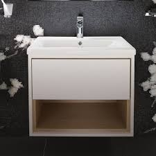 600 Vanity Unit Lincoln 600 Basin With Grey And Driftwood Wall Mounted Vanity Unit