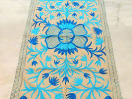 Handmade Rugs From India Blue Kashmir Custom Handmade Rugs Embroidered Wool Floor Discovered