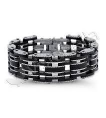 chain bracelet men images Mens rubber stainless steel modern bike chain bracelet men 39 s jpg