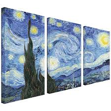 amazon com artwall 3 piece starry night by vincent van gogh