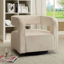 Swivel Accent Chairs by Coaster Contemporary Swivel Velvet Accent Chair In White Walmart Com