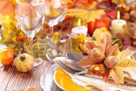 thanksgiving dinner decoration stock photo vitaina 126410588