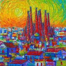 barcelona painting vibrant barcelona modern impressionist abstract city impasto knife oil painting ana maria edulescu
