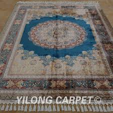 Fine Persian Rugs Yilong 5 5 U0027x8 U0027 Handmade Carpet Floral Blue Medallion Hand Knotted