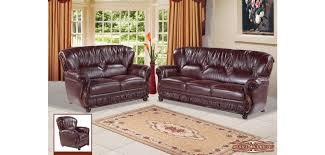 Burgundy Living Room Set Burgundy Leather Mahogany Wood Trim Living Room Set 639burg