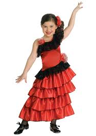 long flowing gold costumes girls spanish flamenco dancer