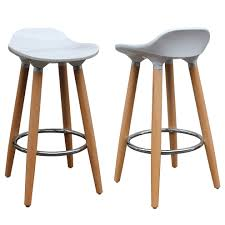 Argos Bar Table Each Stool Has White Abs Plastic Seat And Naturally Finished