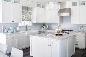 Kitchens With Backsplash White Kitchen With Blue Mosaic Tile Backsplash Contemporary