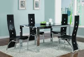 chrome metal frame dining room table w tinted glass top