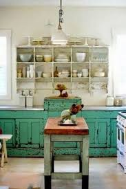 Turquoise Cabinets Kitchen Weathered Kitchen Cabinets Get The Look With Chalk Paint And