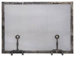 Fireplace Metal Screen by Forged Iron Fireplace Screen With Ball Andiron Feet Traditional