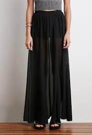forever 21 sheer overlay maxi skirt in black lyst