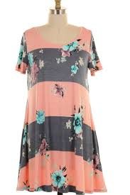 plus size striped floral print dress with pockets