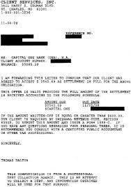capital one sample debt settlement letter leave debt behind
