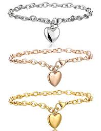 chain bracelet with heart charm images Jstyle jewelry women 39 s stainless steel chain bracelet jpg