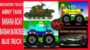 monster truck video cartoon for children army batmobile banana