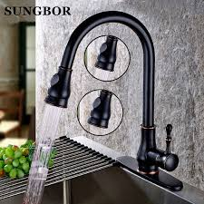 Brushed Brass Kitchen Faucet by Pull Out Brass Low Pressure Kitchen Faucet Black Colour
