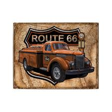 Style Garage route 66 gas truck tanker art on wood sign vintage style garage