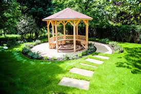 Suburban Backyard Landscaping Ideas by Large Suburban Garden Desigened With York Stone Terrace And Timber
