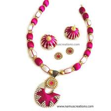 pink combination and off white combination silk thread necklace