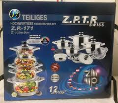 z p t r swiss 17 piece stainless steel cookware set limited