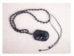 free necklace images Black obsidian carving wolf head amulet pendant free necklace jpg