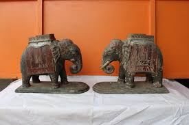 wooden vintag carving painting elephant use as a home