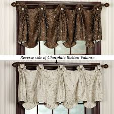 Chocolate Curtains With Valance Madison Button Valance