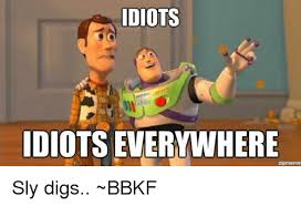 Everywhere Meme - idiots idiots everywhere sly digs bbkf meme on me me