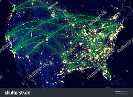 World At Night Map by United States Network Night Map Space Stock Photo 205745119