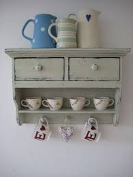 vintage style cream wall shelf display storage unit shabby