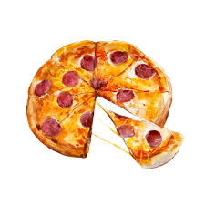 expression cuisine pizza with pepperoni watercolor illustration stock illustration