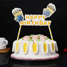 Minion Cake Decorations Cute Minion Cake Flag Happy Birthday Slogan Party Decoration