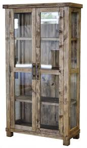 wood and glass cabinet country reclaimed solid wood farmhouse glass display cabinet by cdi