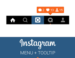 instagram layout vector illustrator free instagram menu and notification tooltip on behance