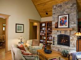 craftsman style family room with stone fireplace 51082 house