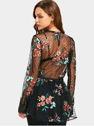 see thru blouse pics floral embroidered ruffles see thru blouse black blouses s
