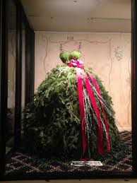 Red Gold And Purple Christmas Tree - she attaches tree branches to the old dress form what it becomes