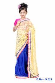 buy orange and yellow mirror border saree for kids girls online