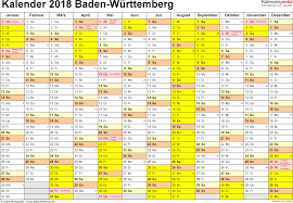 Kalender 2018 Hessen Drucken Kalender 2018 Baden Württemberg Ferien Feiertage Pdf Vorlagen