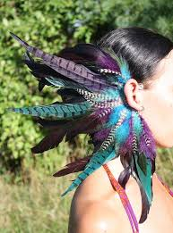 s ear cuffs handmade large feather ear cuff feather headpiece tribal