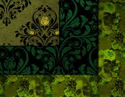 halloween textures green gothic digital paper skull damask halloween scrapbook