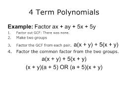 4 term polynomials example factor ax ay 5x 5y 1 factor
