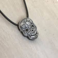 sterling silver skull indian hindustani sugar skull necklace skull