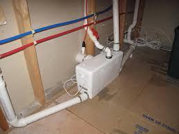 basement bathroom plumbing with ejector pump